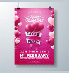 valentines day love party flyer design with vector image vector image