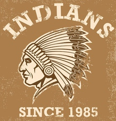 Vintage indian mascot vector