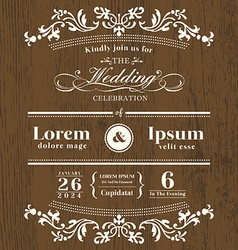 Vintage typography Wedding invitation template vector image vector image