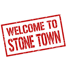 welcome to stone town stamp vector image vector image