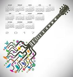 2017 calendar guitar tree vector image vector image