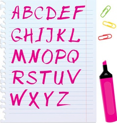 Alphabet set - letters are made of magenta color vector image