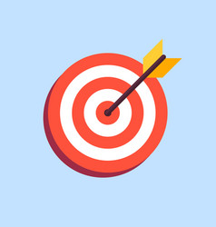 arrow in center of board flat target icon vector image vector image