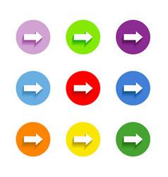 Arrow sign icon set Simple circle shape internet vector image