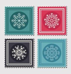 Christmas postage stamps vector image