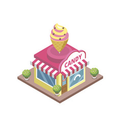 confectionery store with ice cream emblem vector image