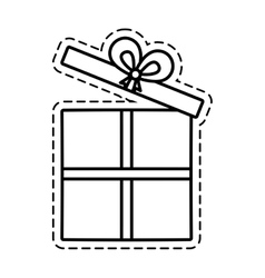 gift box ribbon elegant present open cut line vector image