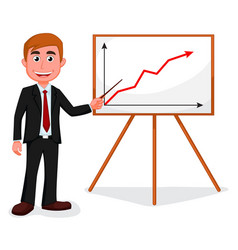 happy businessman standing for good presentation vector image vector image