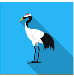 red-crowned crane icon in flat style isolated on vector image vector image