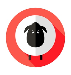 Sheep Flat Circle Icon over Red vector image
