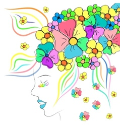Beautiful girl with hat of flowers vector image vector image