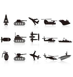 black war weapon icons set vector image vector image