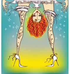 Bride woman in stockings vector image