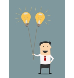 Businessman with idea bulb balloons vector image vector image