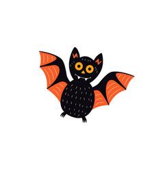 flat halloween black bat vector image