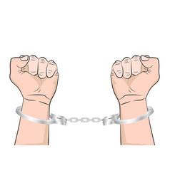 shackled hands in handcuffs man in jail prisoner vector image