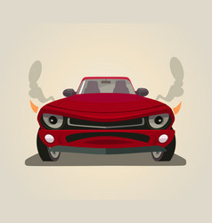 sport red car front view flat cartoon vector image