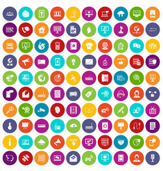 100 telecommunication icons set color vector