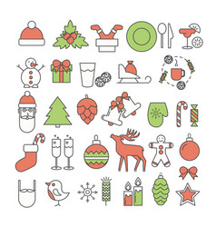 christmas and new year thin line flat icon vector image