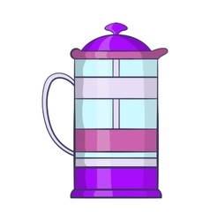 French press coffee maker icon cartoon style vector