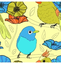 parrots and flowers vector image