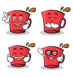 set of red glass character cartoon vector image