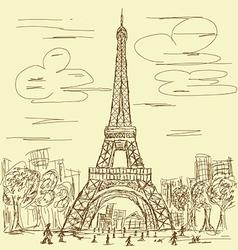 vintage eifel tower vector image