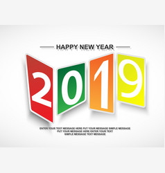 2019 happy new year abstract modern style vector image
