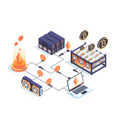 3d isometric mining farm with server laptop vector image