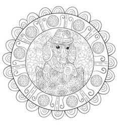 Adult coloring bookpage a cute dog with hat on vector