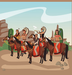 American indian warriors tribe vector