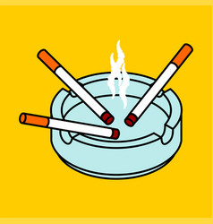 Ashtray with cigarettes isolated accessory of vector