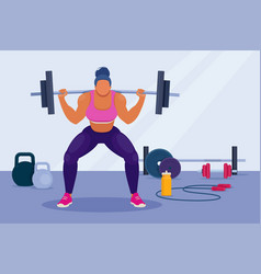 athletic woman doing barbell squats in gym vector image