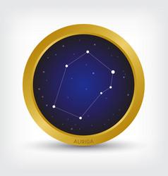 Auriga constellation in golden circle vector