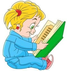 baby girl reading vector image