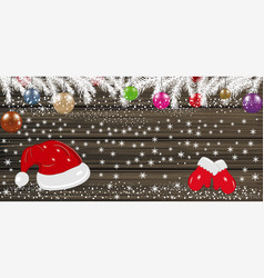 Background with christmas balls santa hat vector