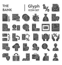 bank glyph icon set finance symbols collection vector image