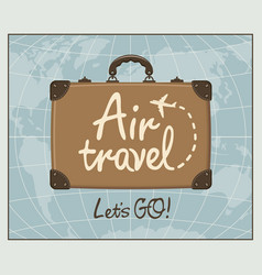 Banner for air travel with brown suitcase vector