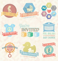Bashower invitation labels and icon vector
