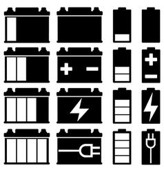 Battery icon set vector image