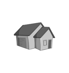 Big house with garage icon black monochrome style vector image