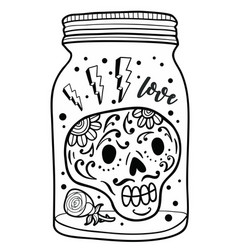 Black and white jar with skull inside vector
