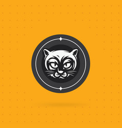 black cat face logo vector image