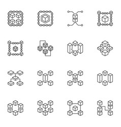 blockchain minimal icons set - block chain outline vector image