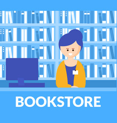 Bookstore interior with bookshelves and cheerful vector
