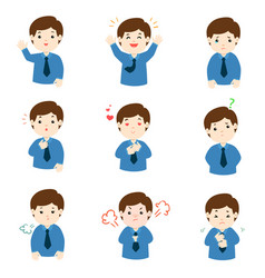 businessman with different emotions cartoon vector image