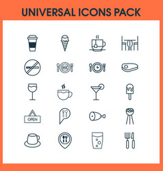 Cafe icons set collection of sorbet fried vector