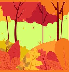 cartoon background colorful forest in autumn vector image