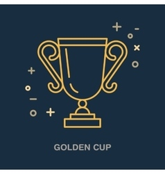 Champion trophy linear icon Golden cup logo vector