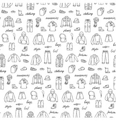 childish boy clothes shoes and lettering doodle vector image